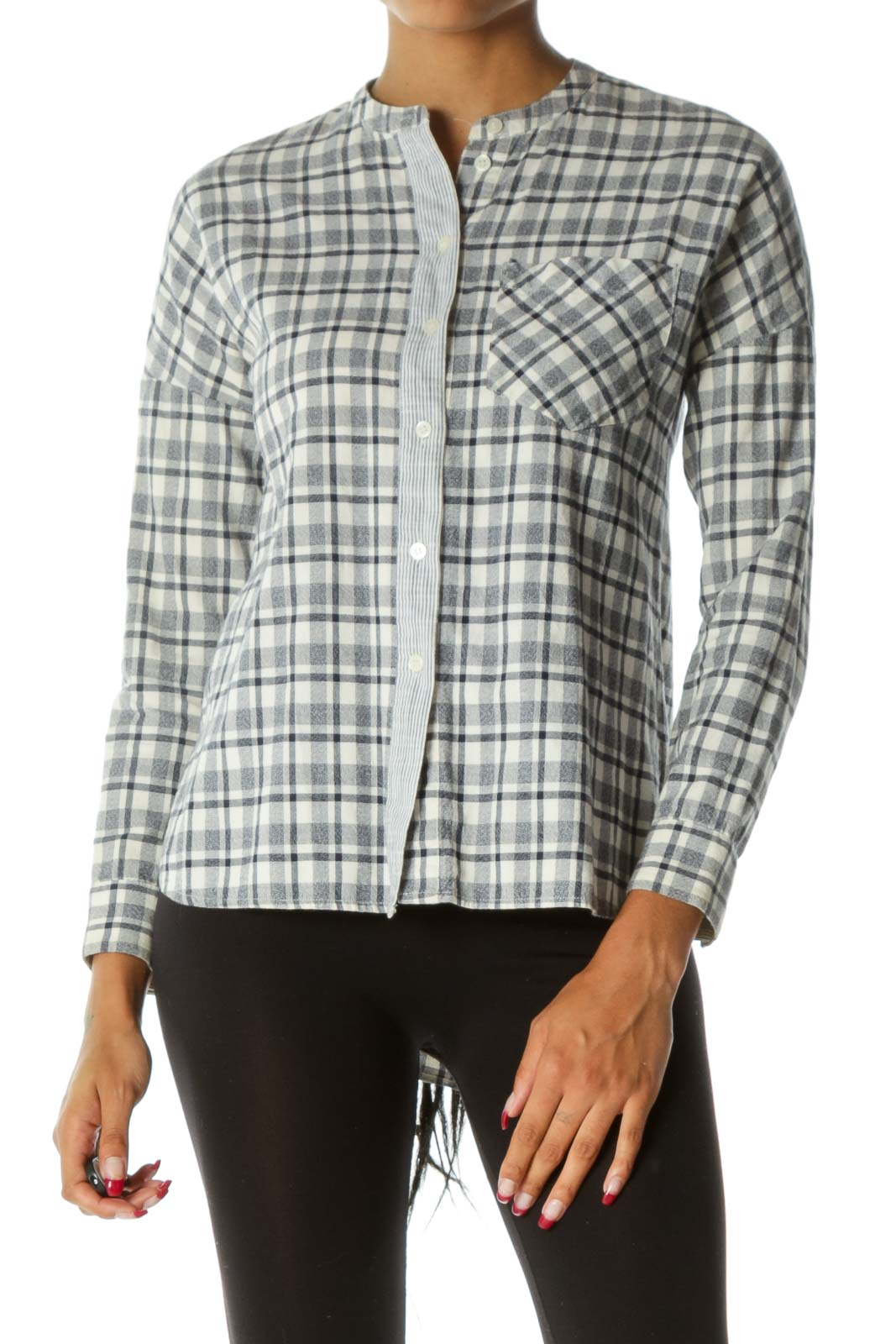 Blue Cream Plaid Buttoned Pocketed Long Sleeve Textured Shirt