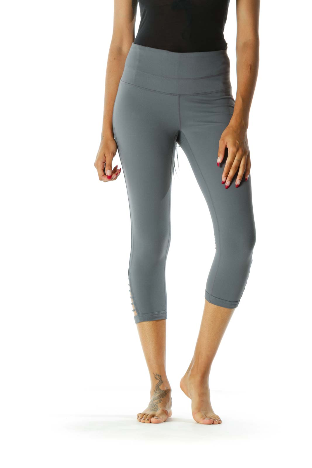 Gray Side-Detailed Cropped Legging