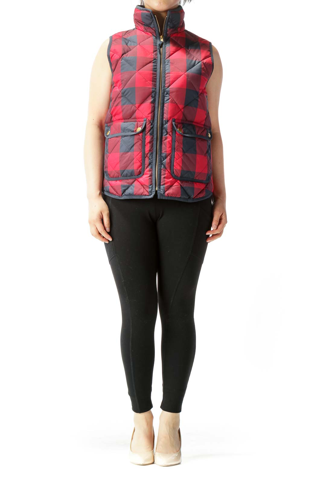Navy Blue Red Checkered Quilted Pocketed Vest
