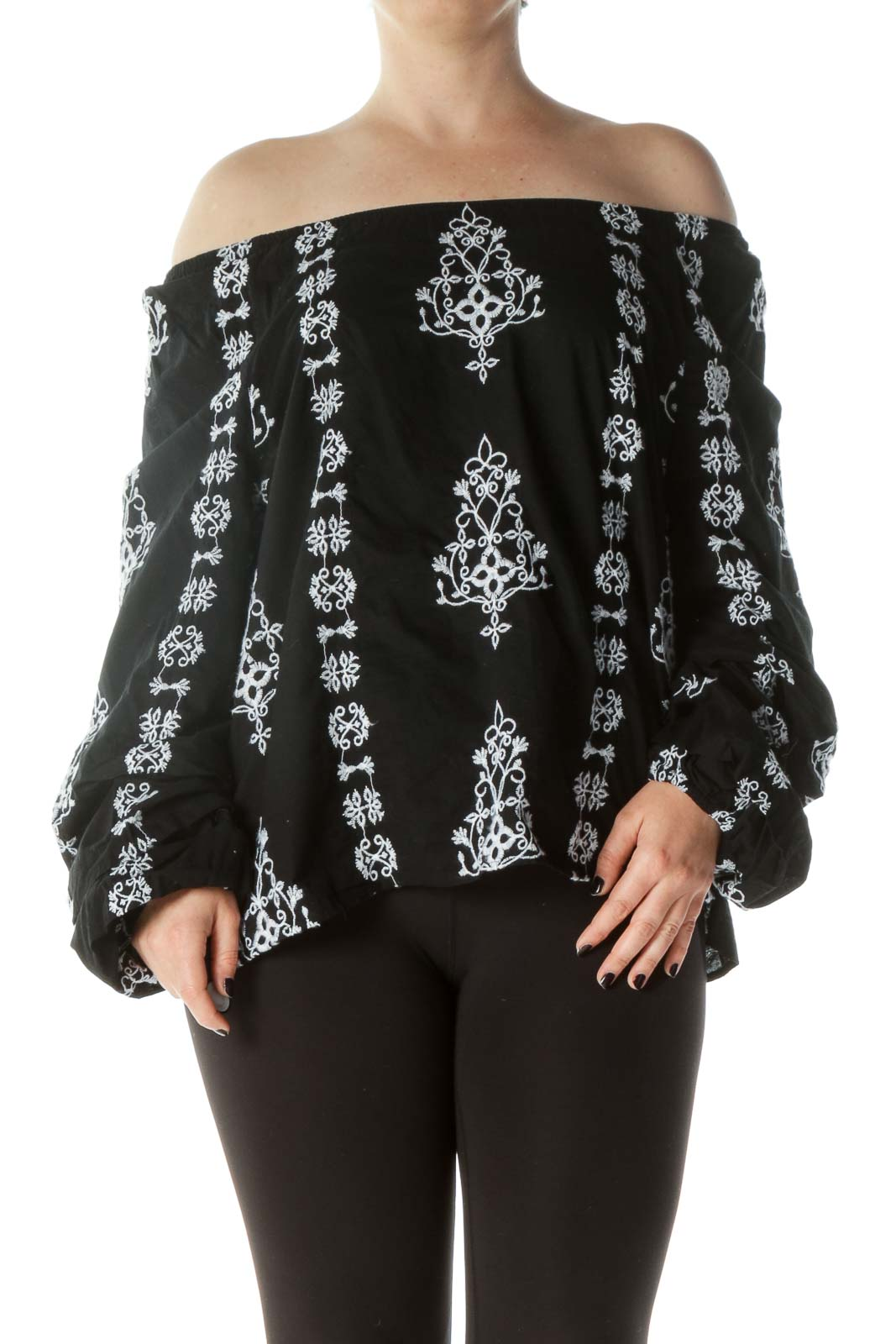 Black & White Embroidered Off-The-Shoulder Blouse with Peasant Sleeve