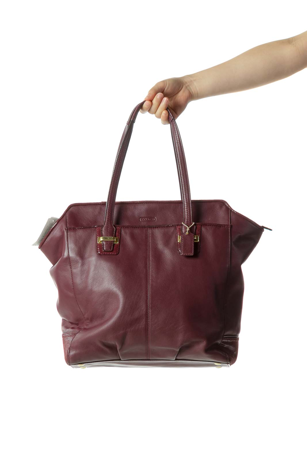 Purple Leather Multi-Pocketed Zippered Shoulder Bag