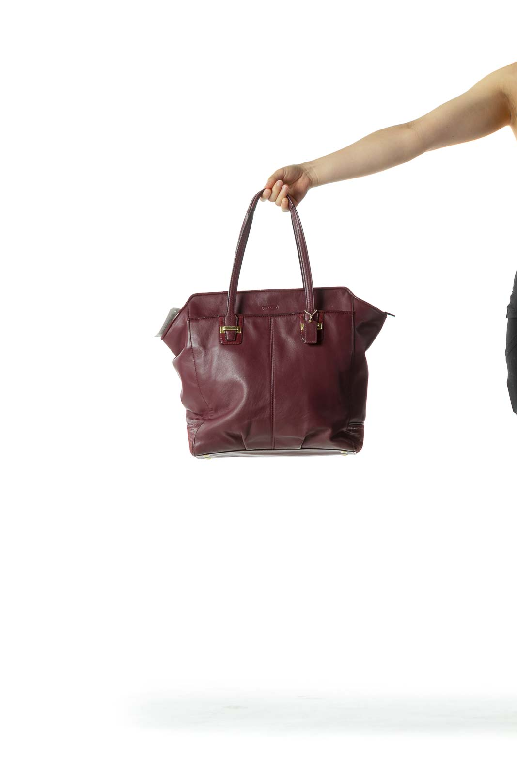 Purple Leather Multi-Pocketed Zippered Shoulder Bag