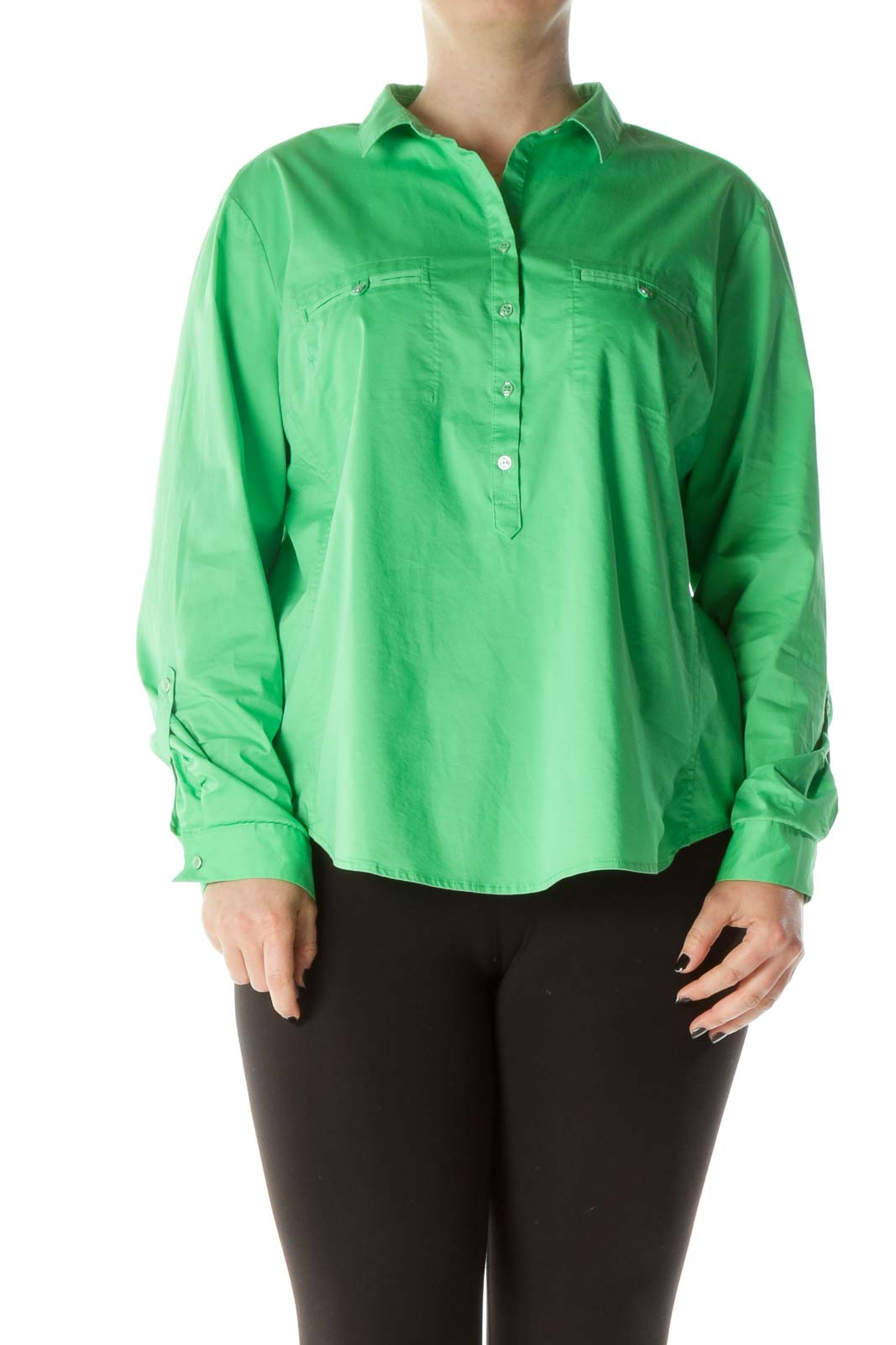 Lime Green Buttoned Long Sleeve Collared Shirt