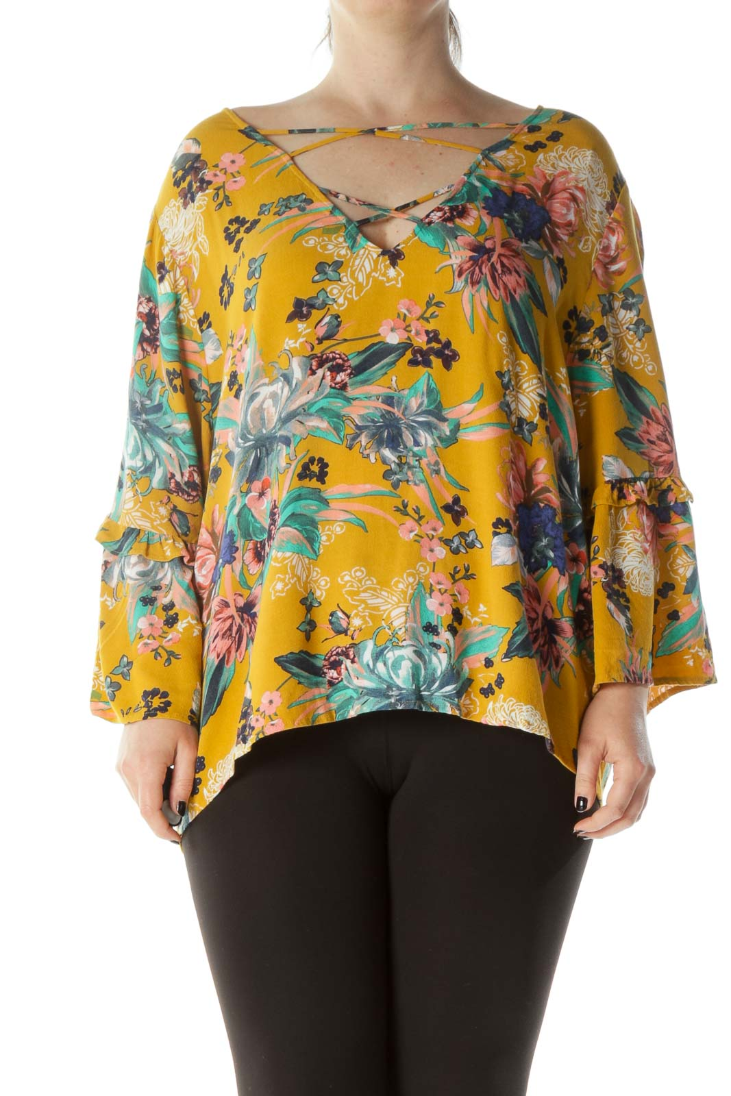Mustard Pink & Green Floral-Print Cross-Front Ruffled Bell-Sleeve Blouse