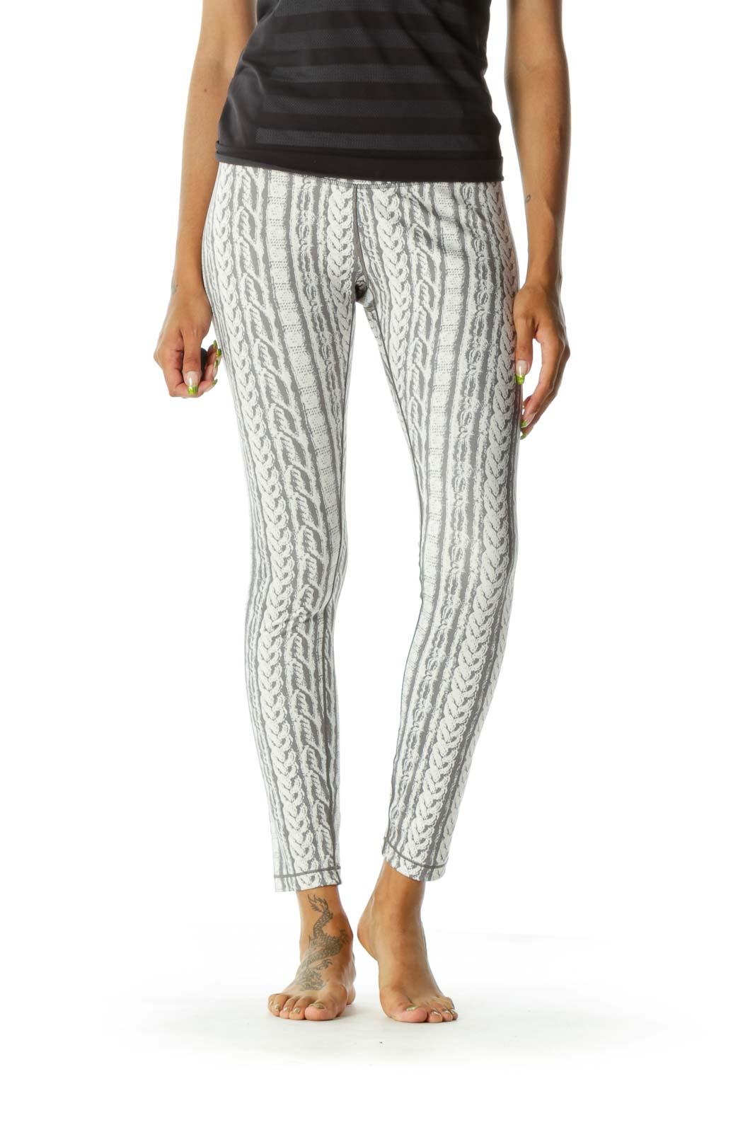 Gray & Cream Snake-Print Yoga Pants