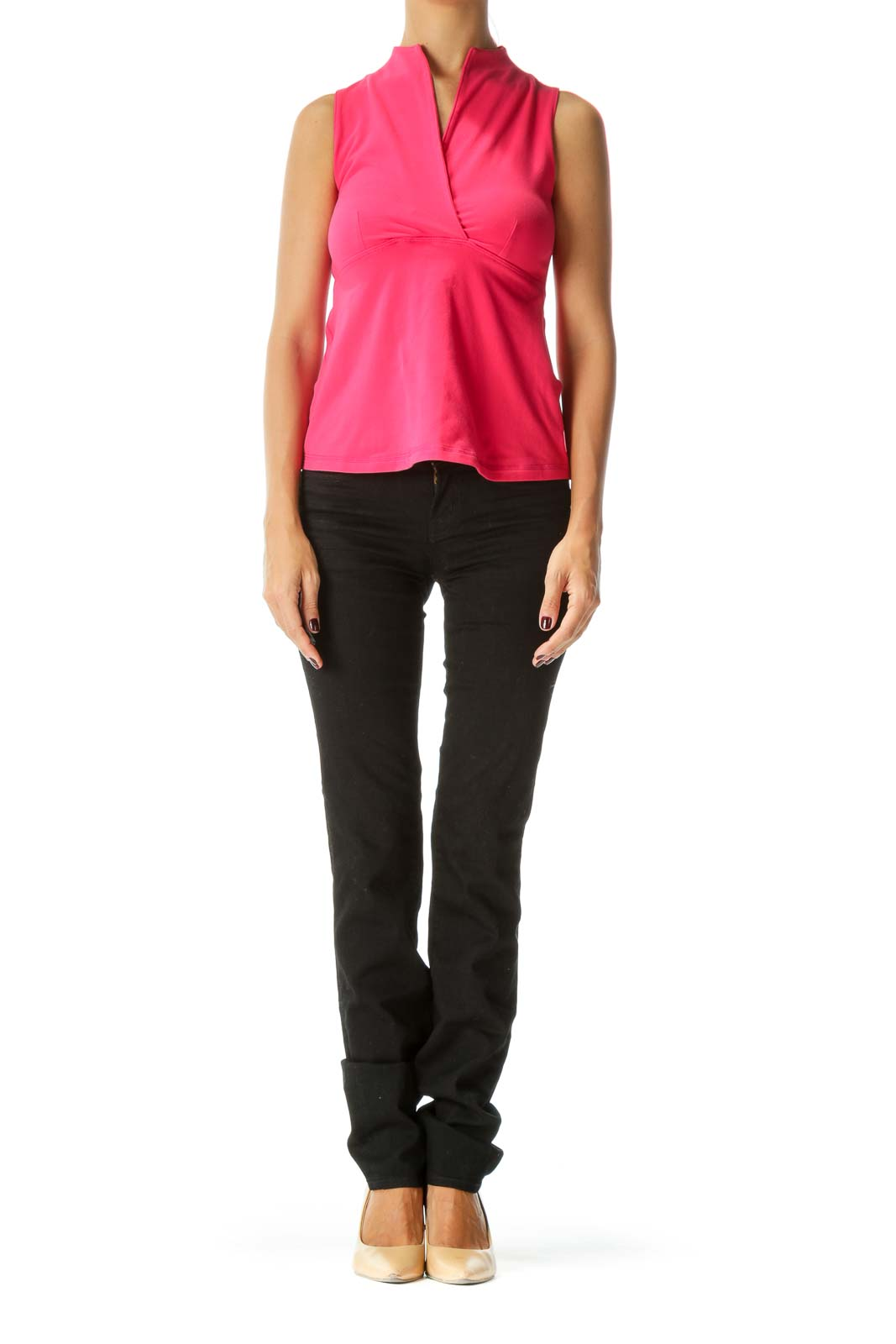 Pink Surplice V-Neck Stretch Sports Top with Built-In Bra