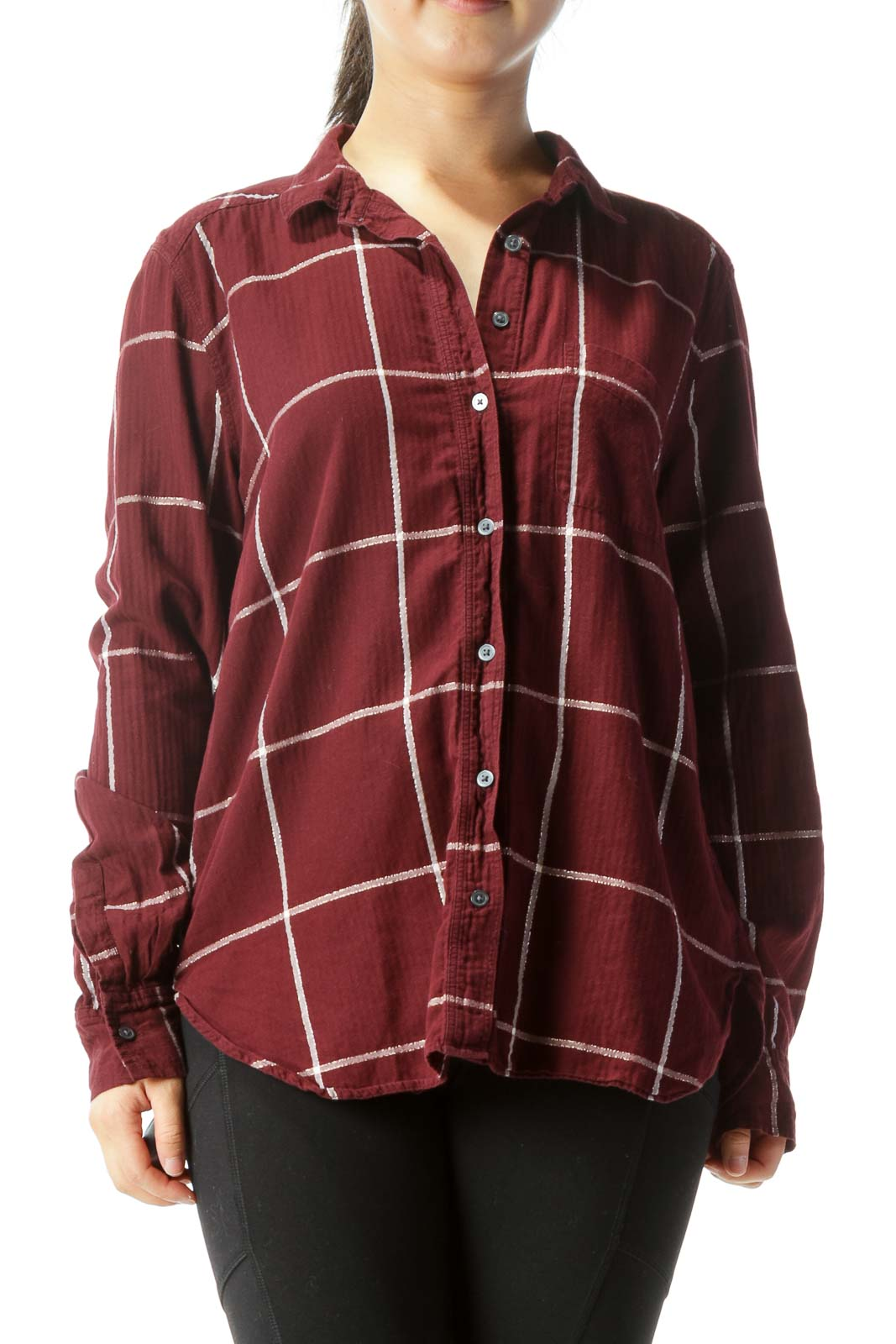 Burgundy and White Plaid Long-Sleeve Button Down With Gold Detailing