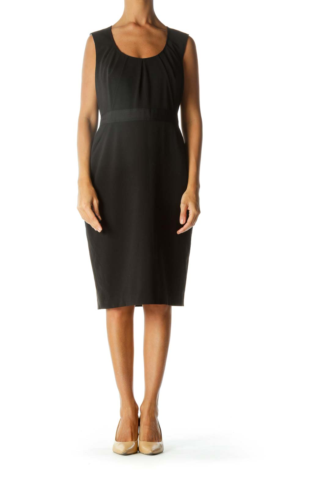Black Pleated Cinched Waist Pocketed Work Dress