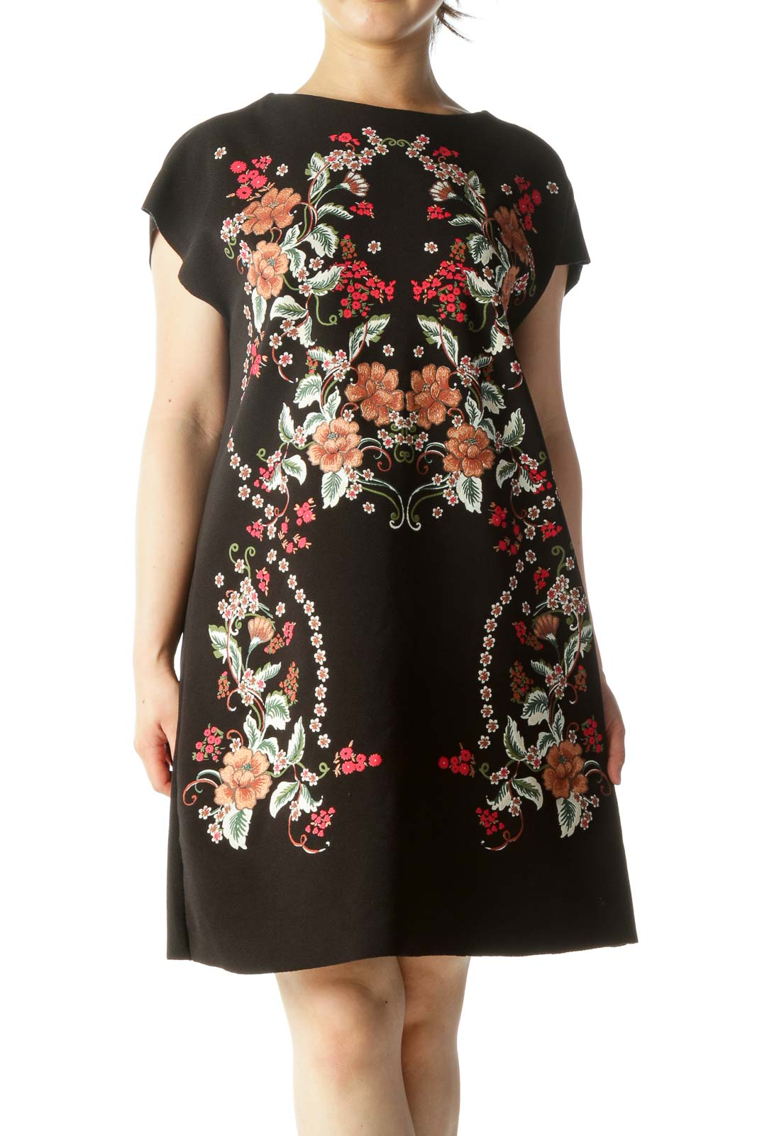 Black Orange Red White Floral Print Cap Sleeves Textured Pull-On Dress