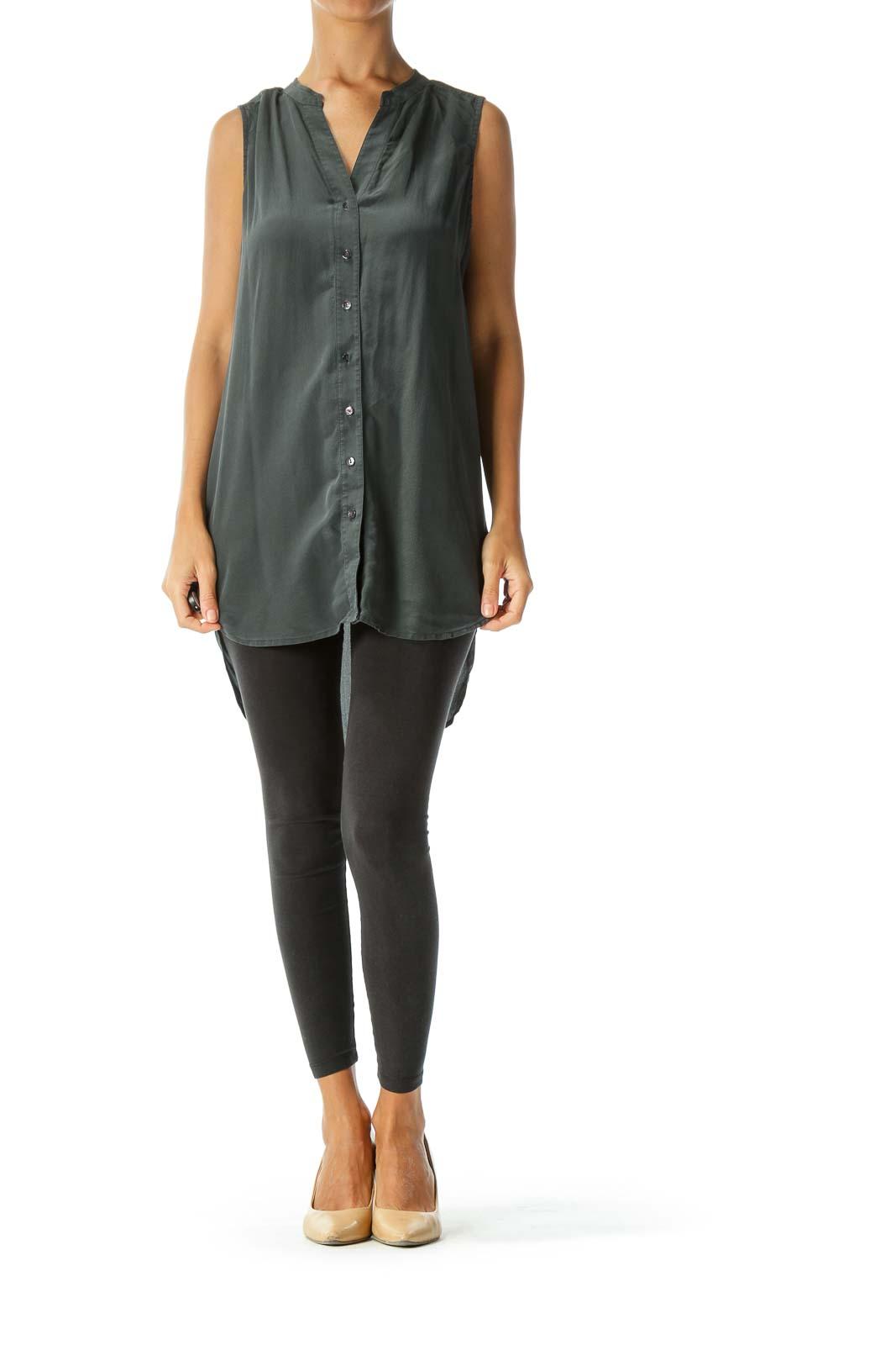 Charcoal Silk Sleeveless Button-Down Blouse