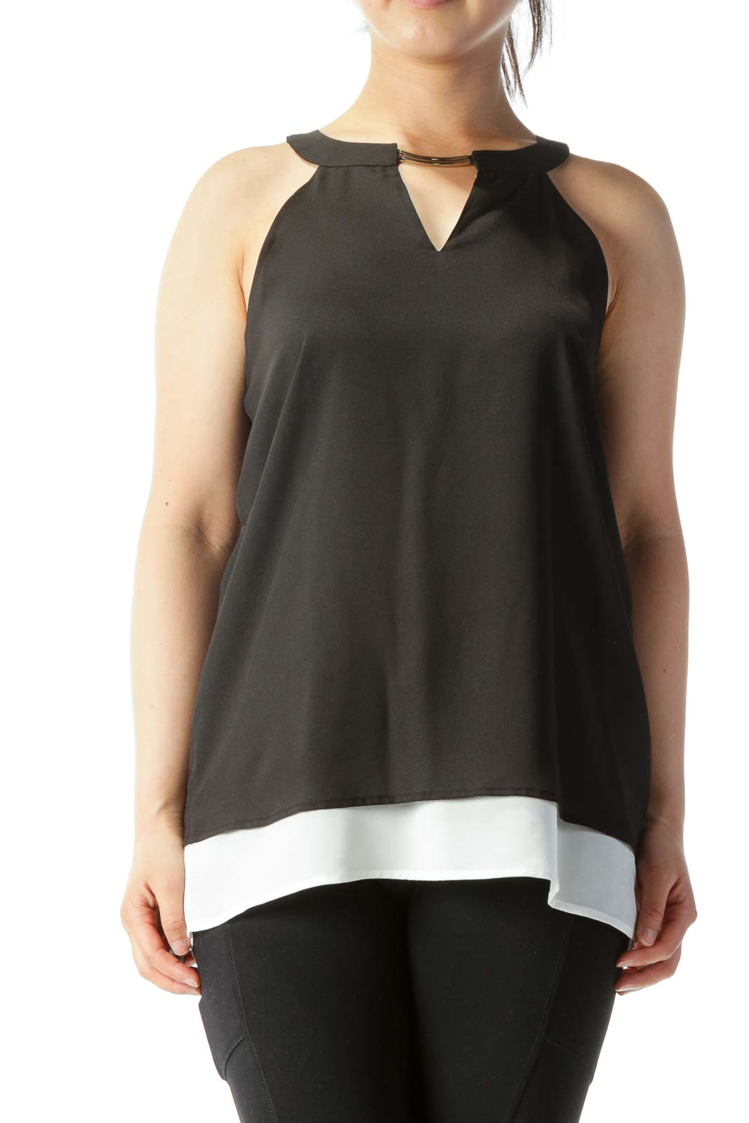 Black Cut-Out Tank with Metal Neck Bar