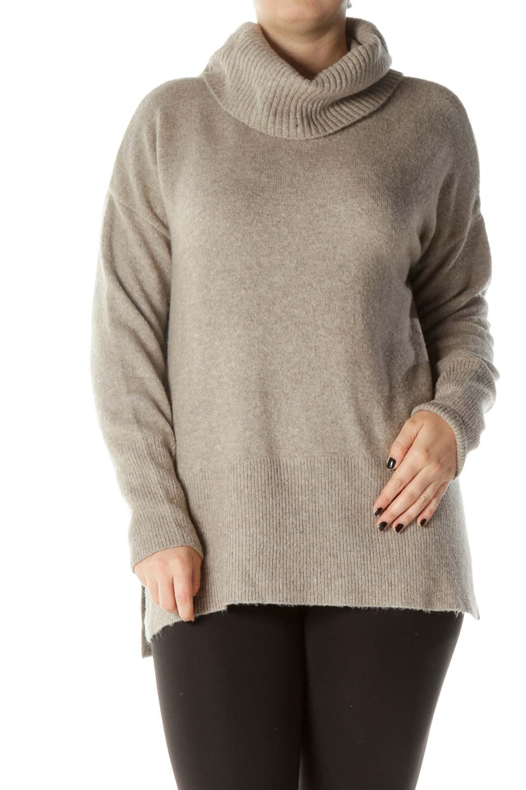 Beige Cowl Neck Cable Knit Sweater