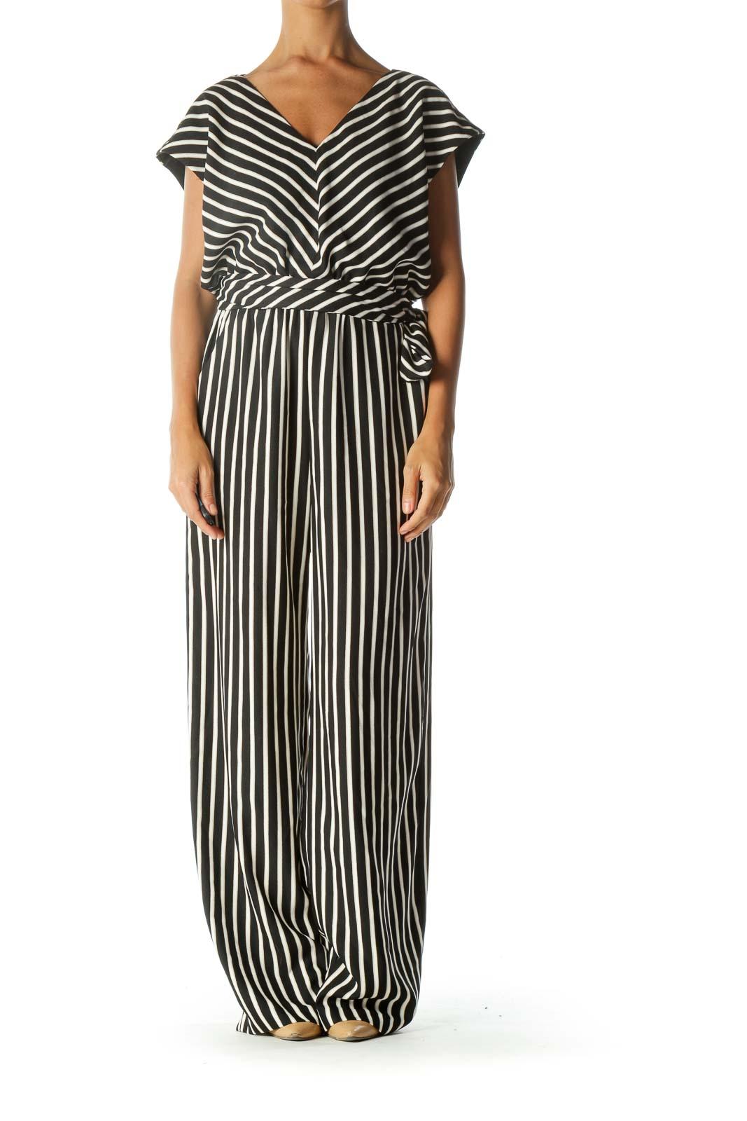 Black White Beige Pinstripe Sleeveless Jumpsuit