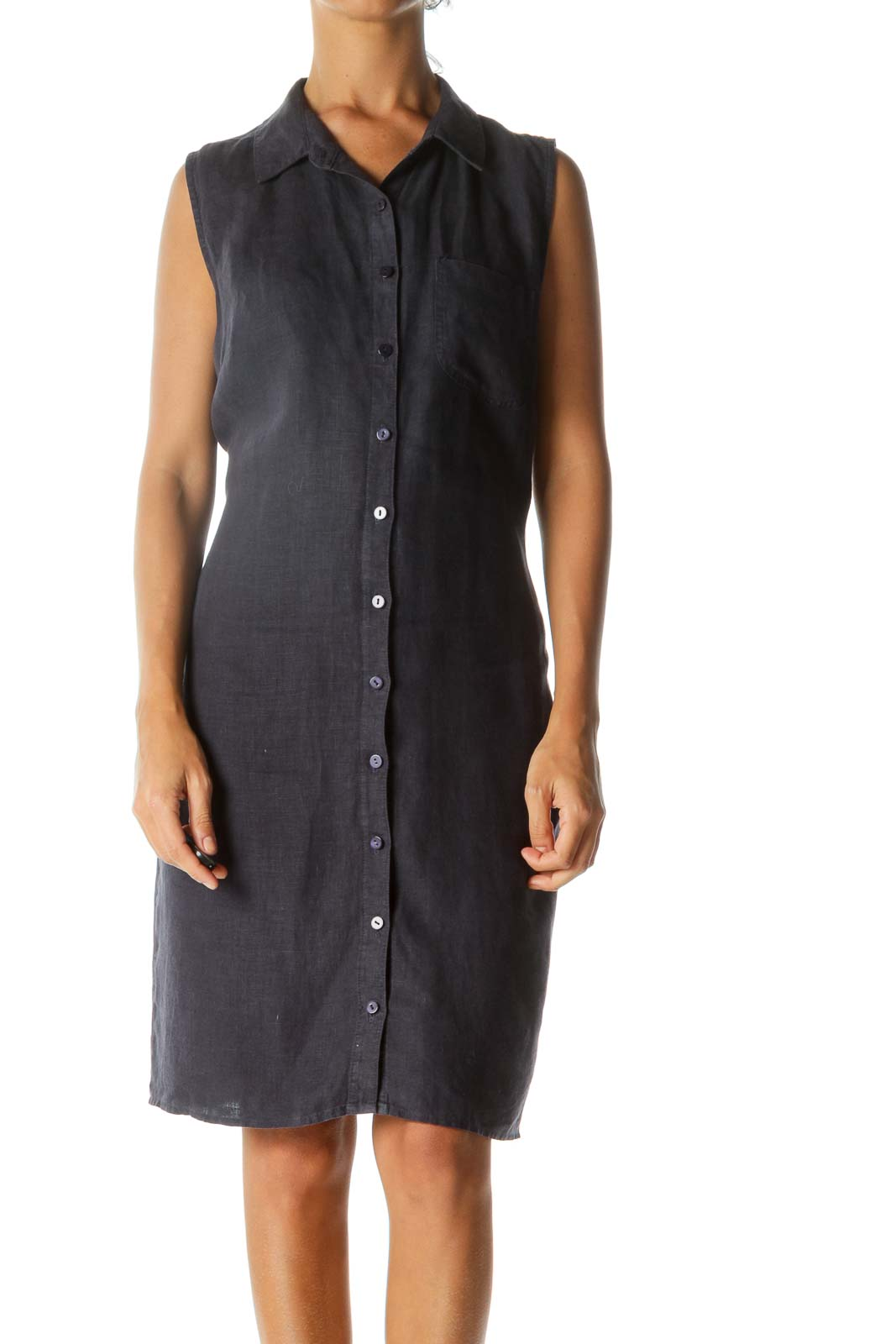 Navy Linen Sleeveless Buttoned Shirt Dress