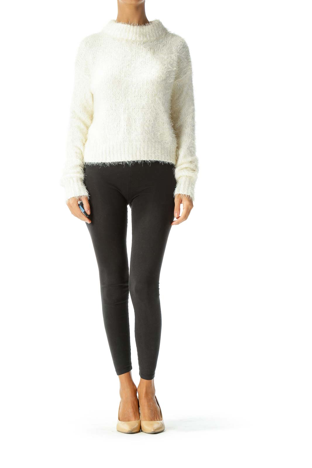 Cream Fuzzy Cable Knit Sweater