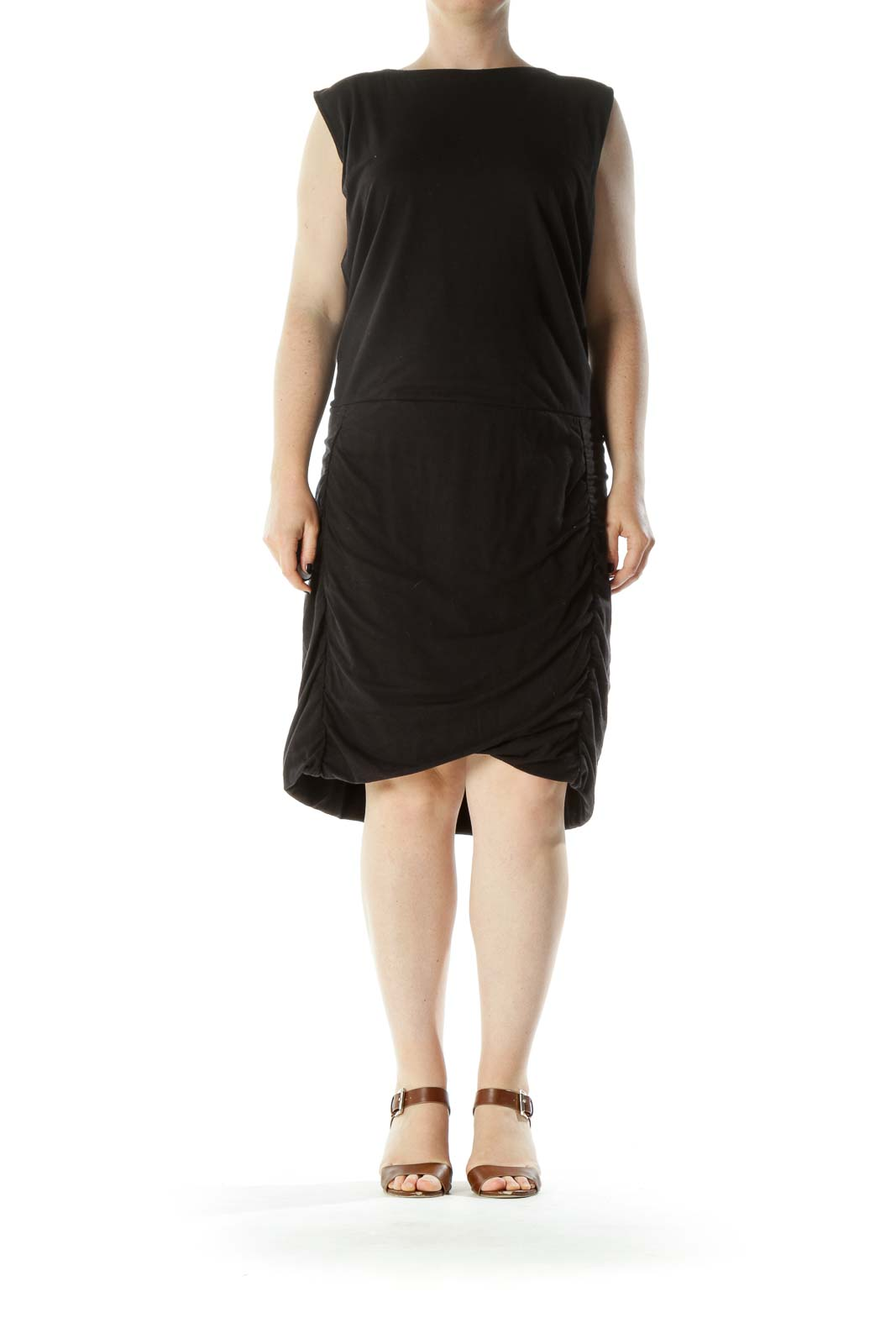 Black Boat Neck Cotton Jersey Dress