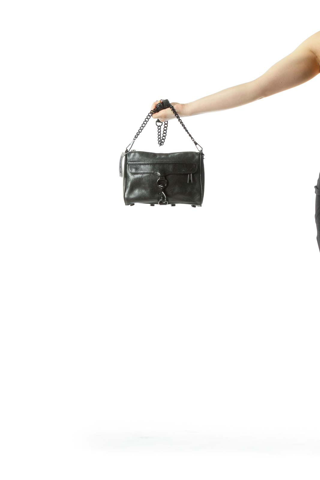Black Crossbody Bag with Large Buckle