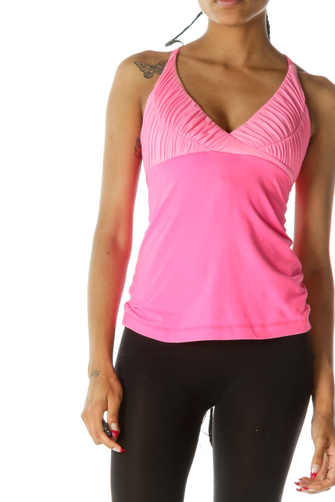 Neon Pink Scrunched Built-In Bra Tank Top