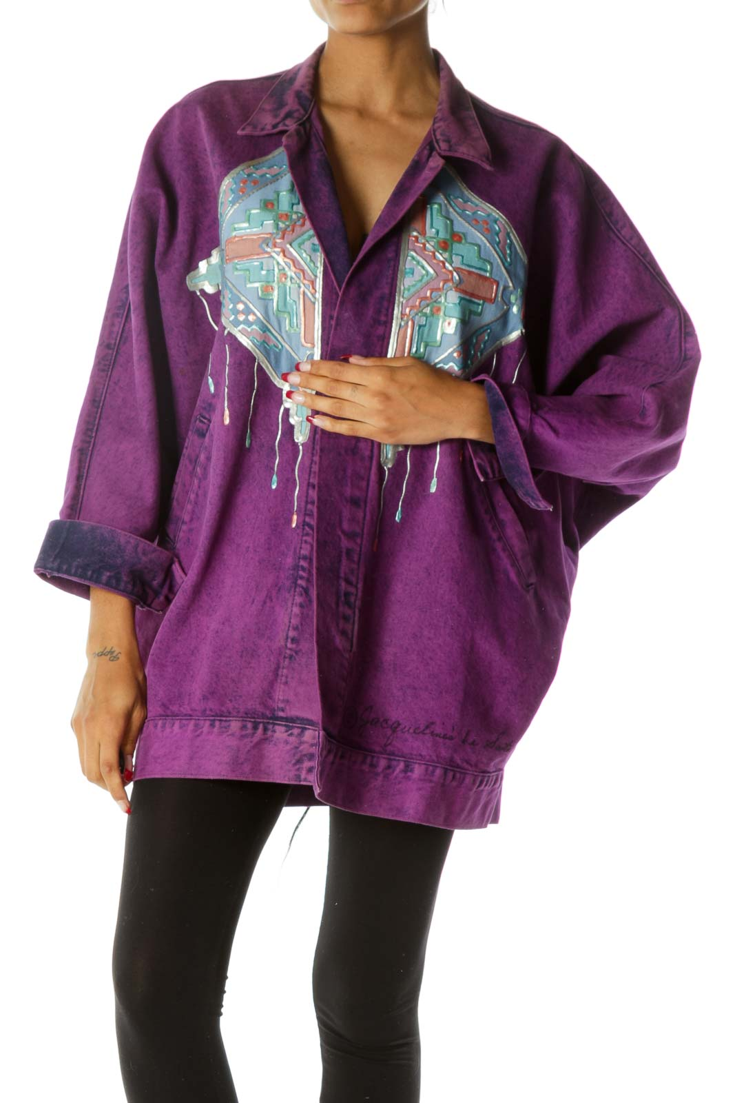 Purple Blue Pink Oversize Front and Back Design Pocketed Vintage Denim Jacket with Signature on Waist