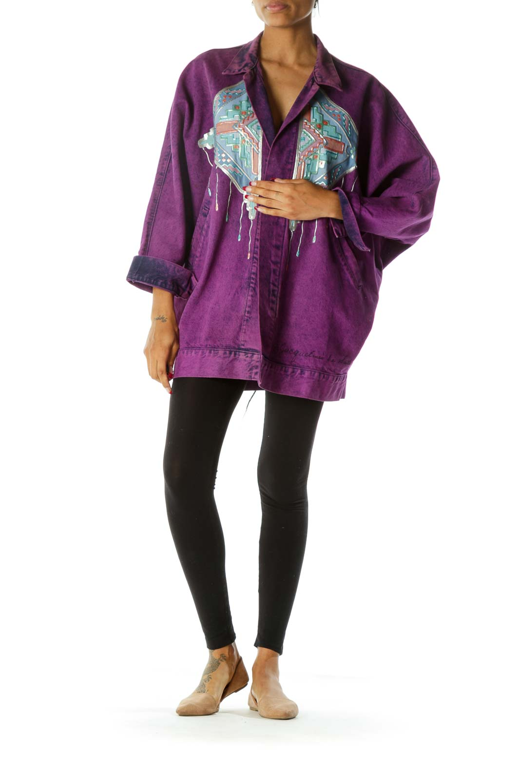 Purple Blue Pink Oversize Front and Back Design Pocketed Vintage Denim Jacket with Signature on Waist