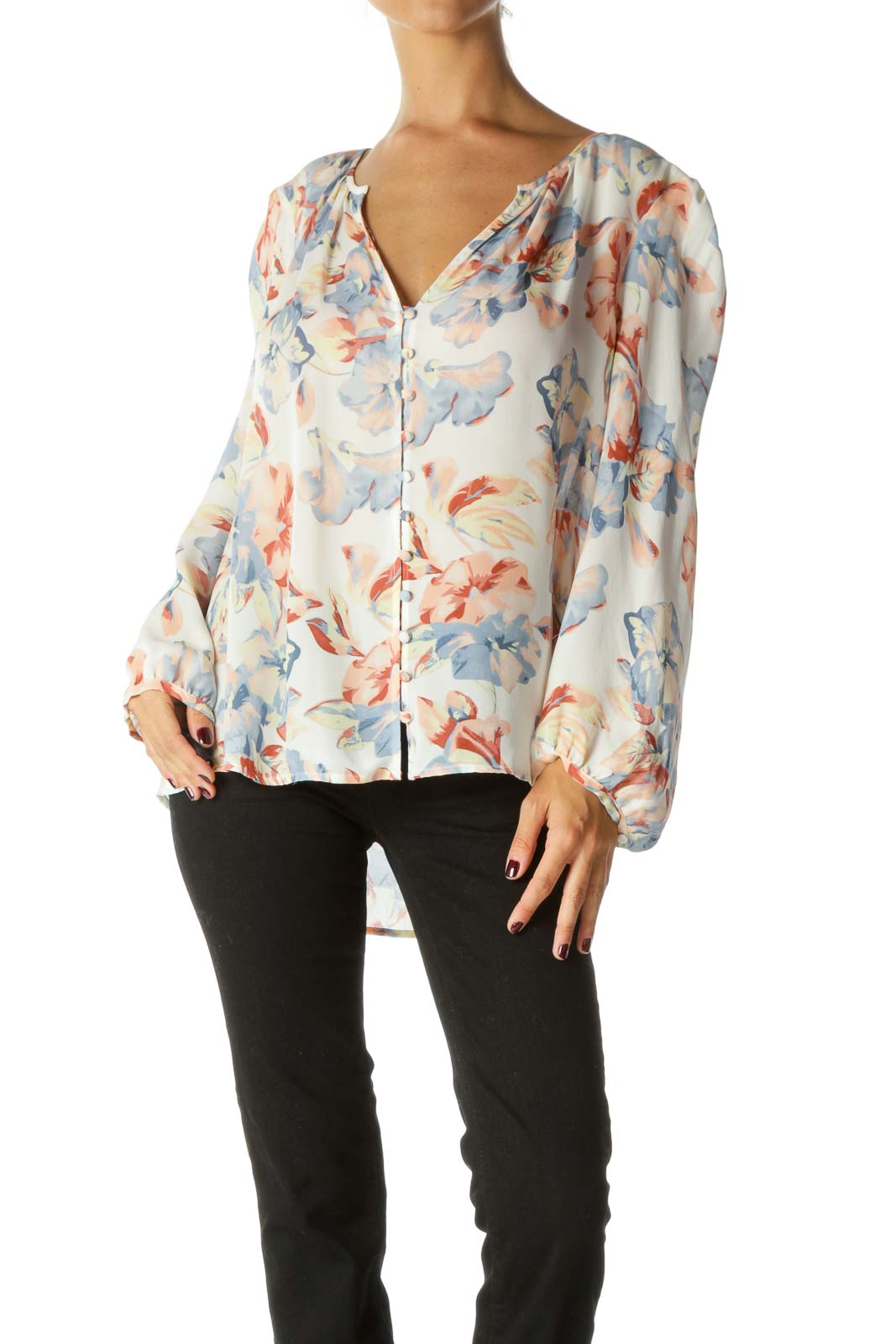 Blue Orange Yellow 100% Silk Floral Print Long Sleeve Blouse