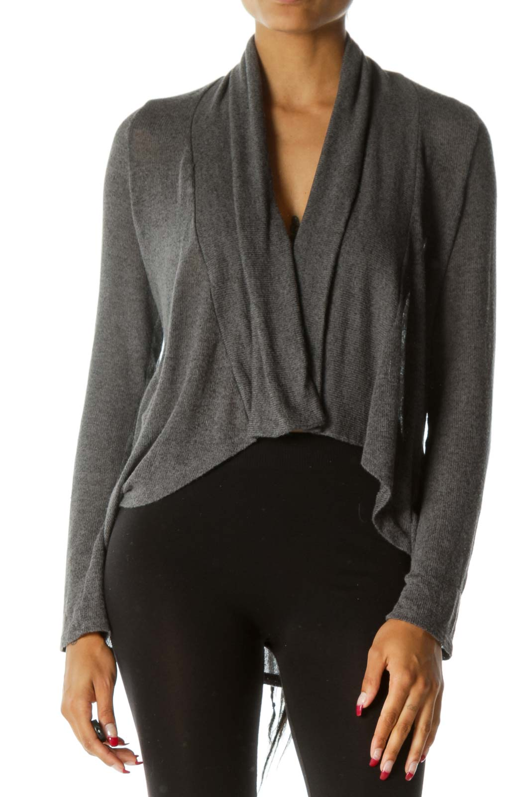 Gray Long Sleeve Stretch Knit Open Cardigan