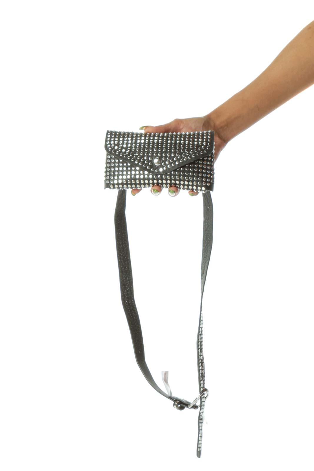 Black Studded Snap Button Closure Belt Bag
