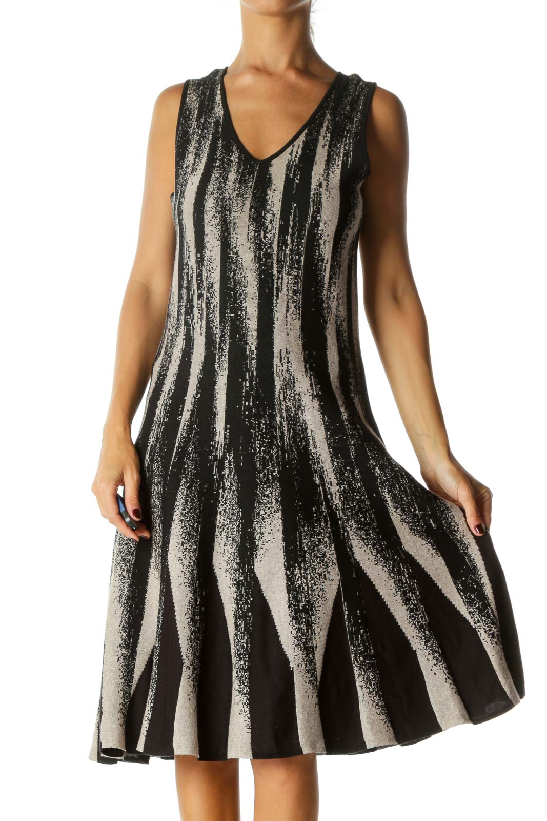 Black Beige Silver Thread V-Neck Knit Textured Flared Dress