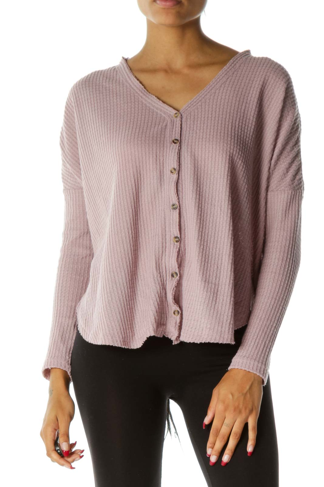 Light Pink Textured Knit Buttoned Long Sleeve Top