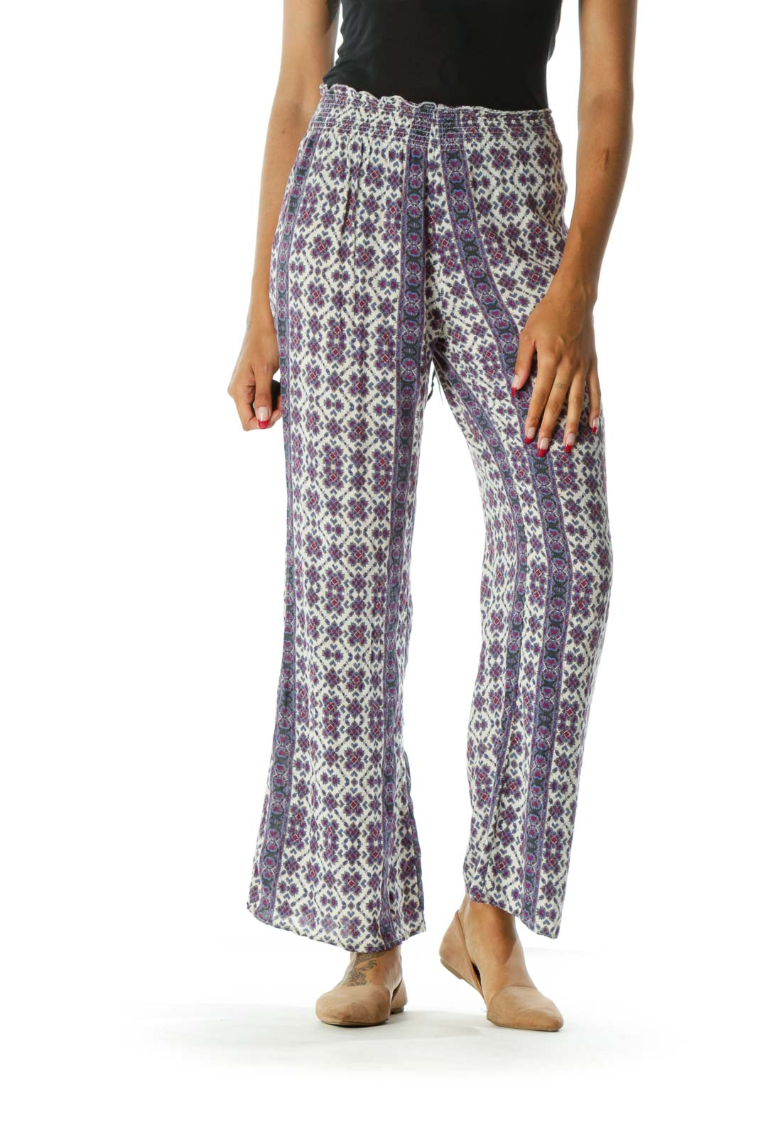 Cream Magenta & Blue High-Waisted Patterned Wide-Leg Pants