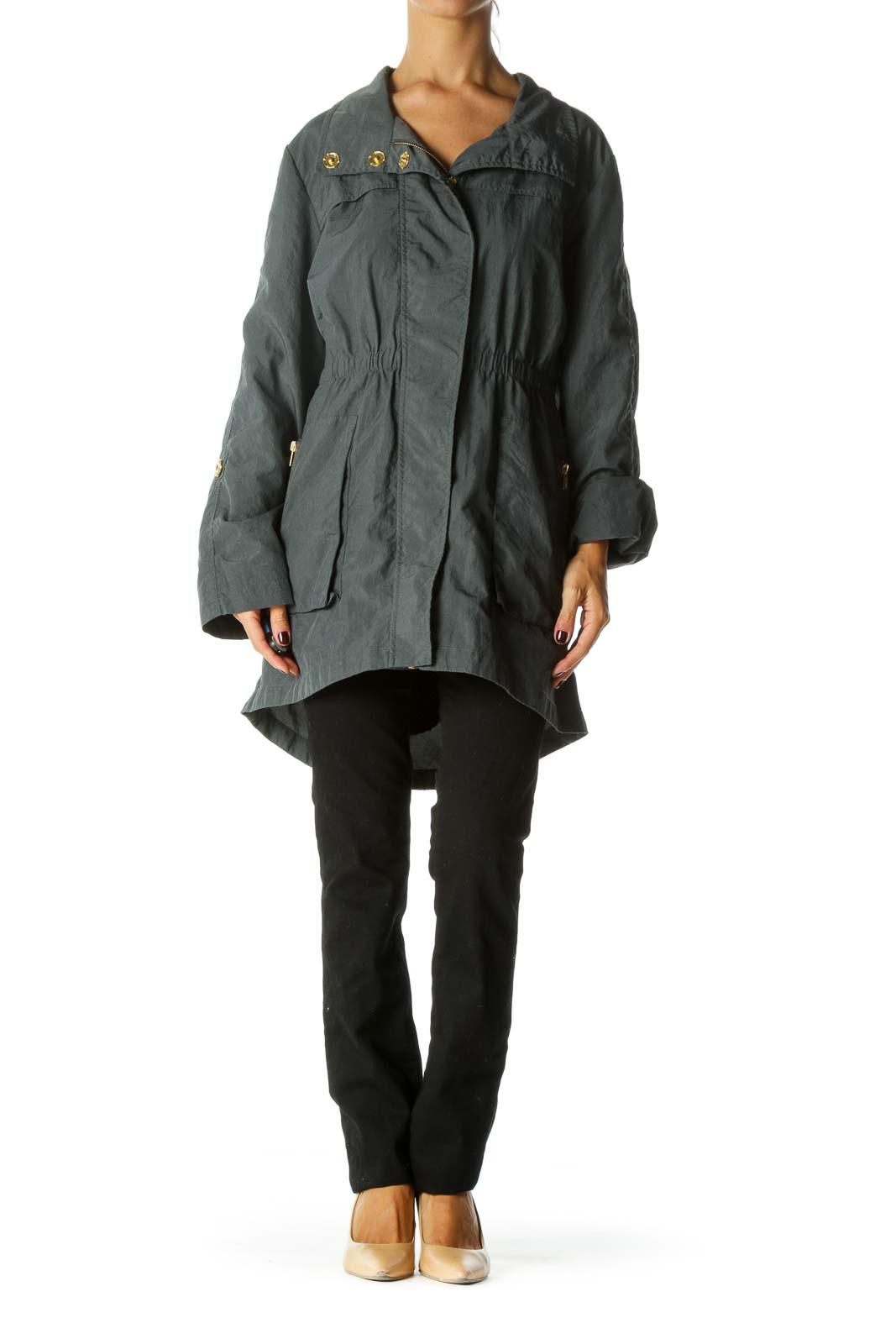 Gray Elastic Waist Long Sleeve Snap Buttons Zippered Jacket