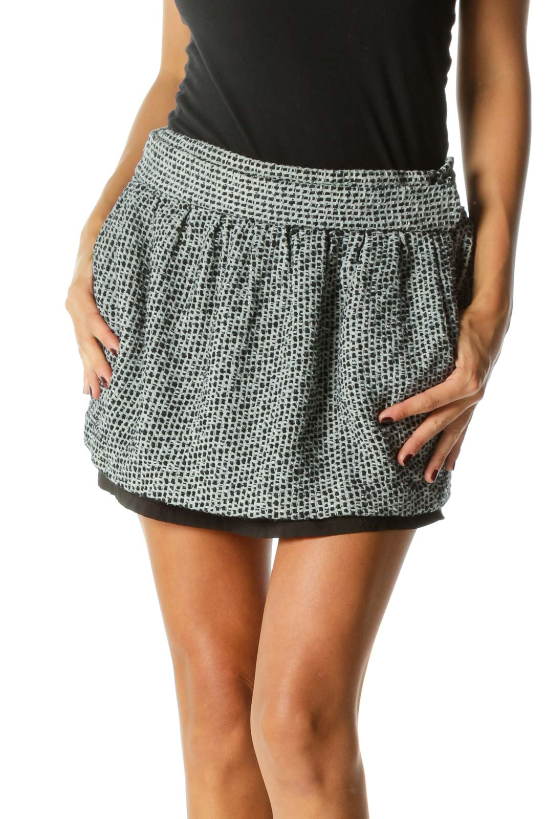 Black Embroidered Double Layered Mini Skirt