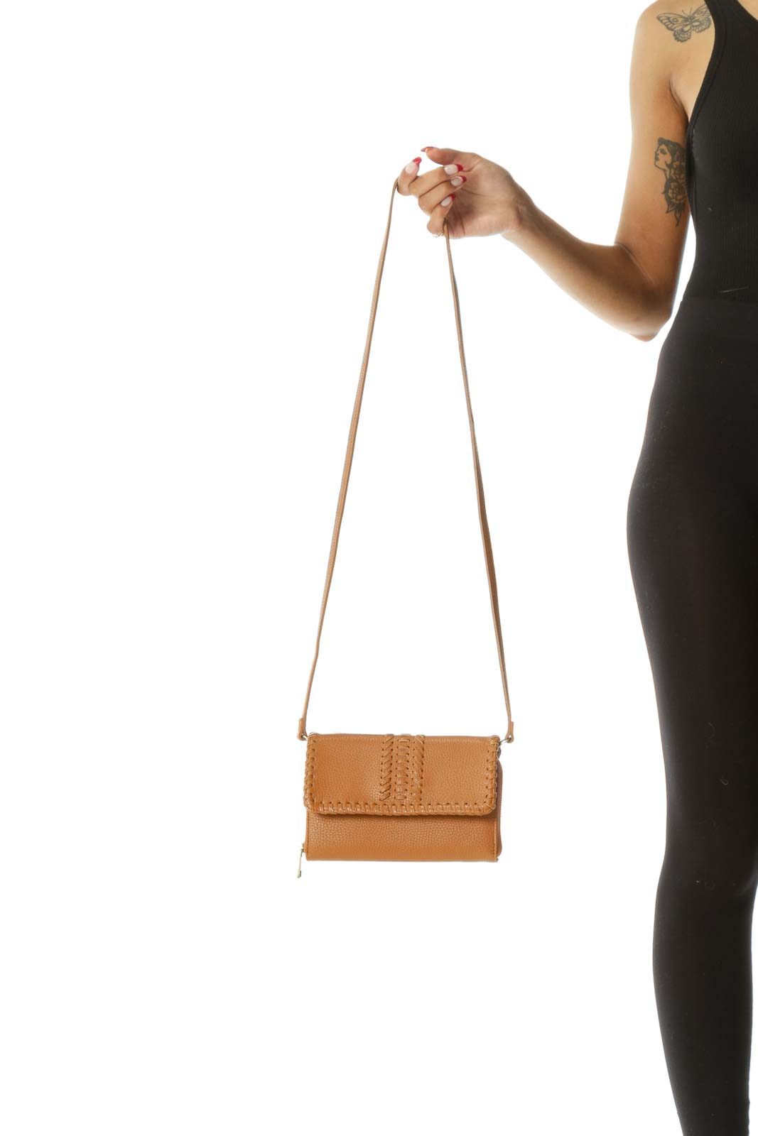 Brown Textured Flap Knit Multi-Pocketed Zippered Crossbody Bag to Clutch Conversion