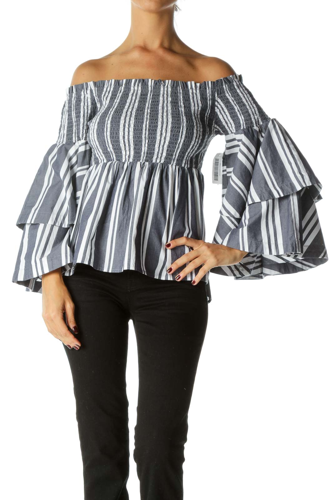 Blue White Striped 100% Cotton Shirring Cold Shoulder Flared Sleeves Top