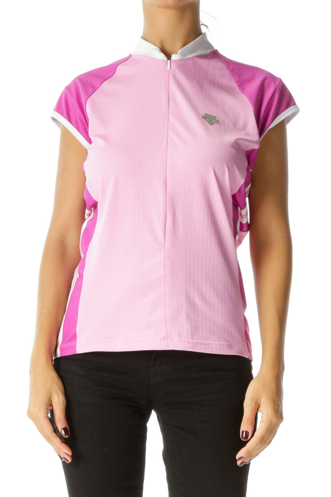 Pink Purple White Zippered Short Sleeve Reflective Logo Applique Sports Top