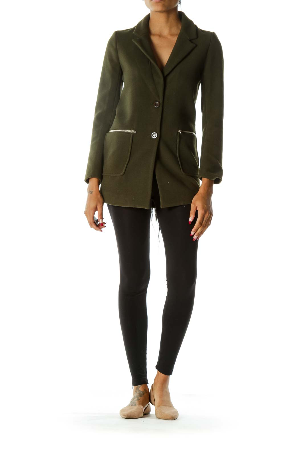 Green V-Neck Zippers Pocketed Buttoned Long Sleeve Coat