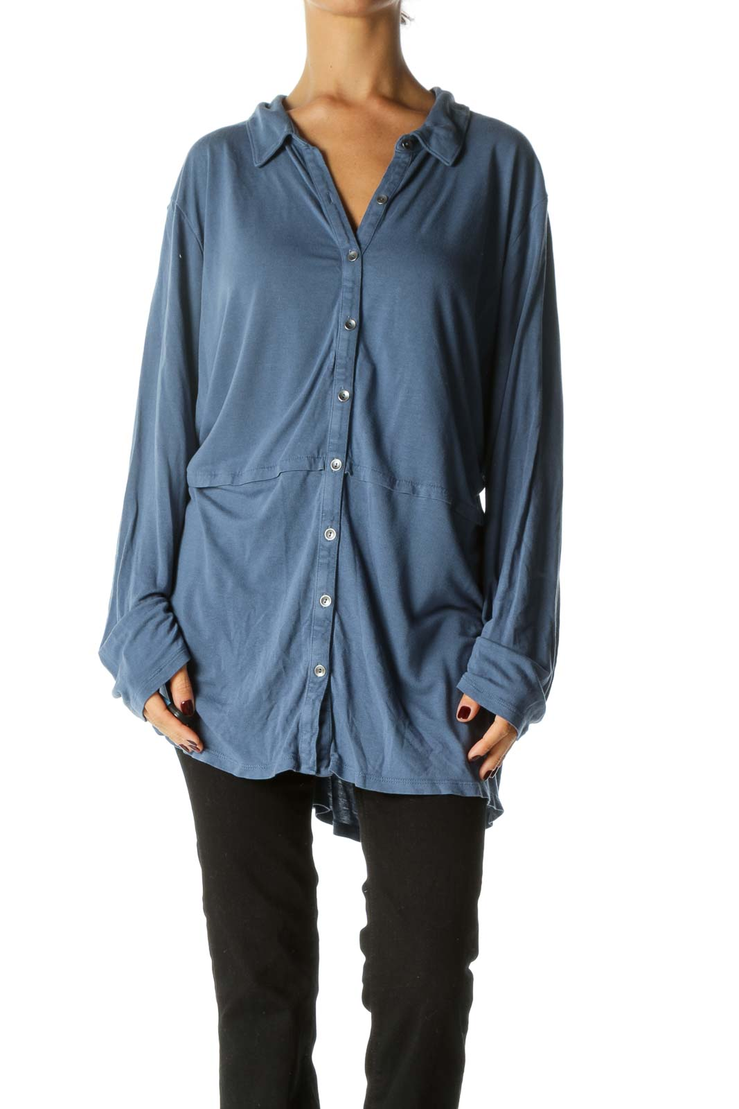 Blue Buttoned Long Sleeve Light Stretch Top