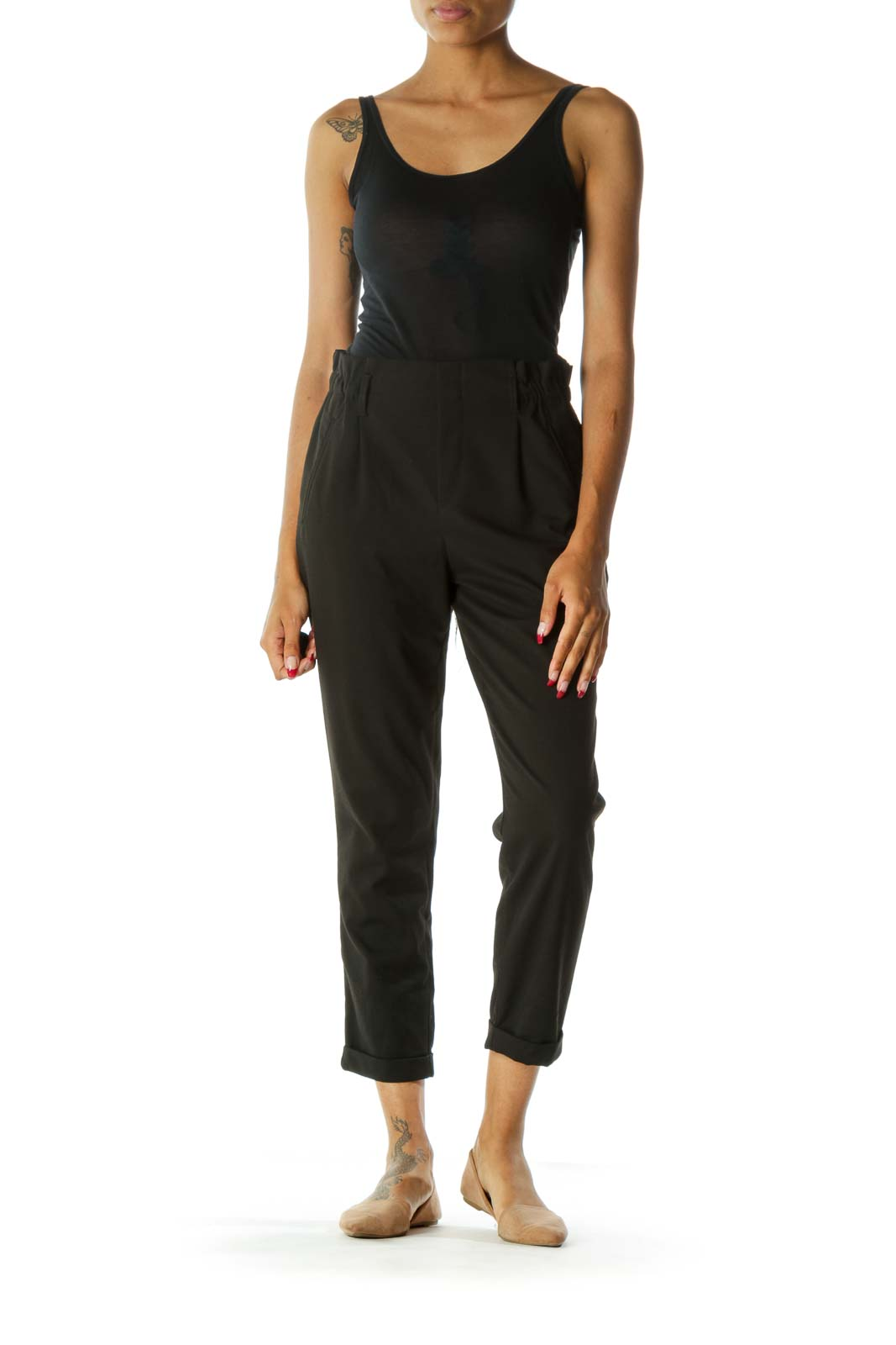 Black High-Waisted Cuffed Tapered Pant w/ Belt Loops