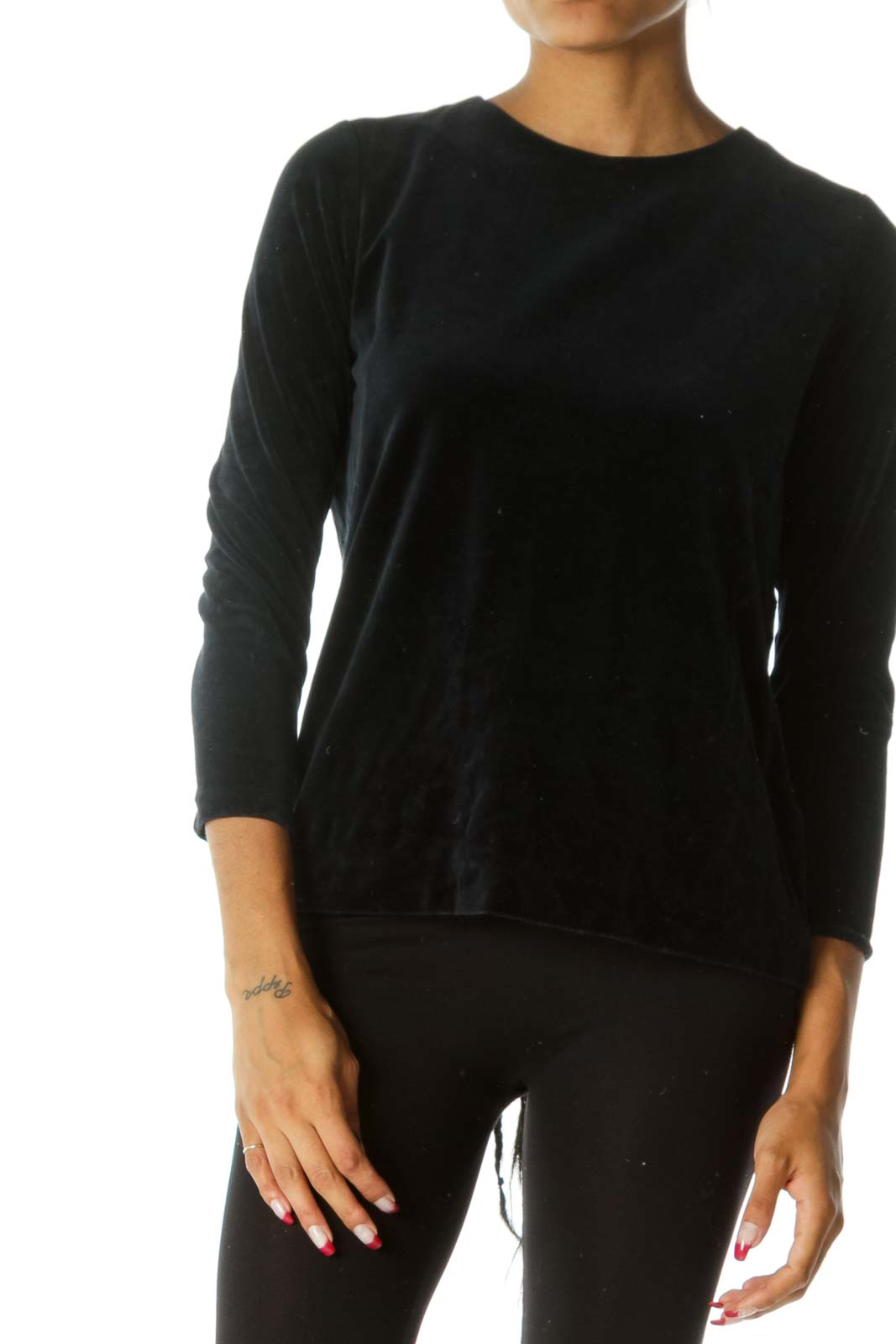Blue Round Neck Velvet Long Sleeve Top