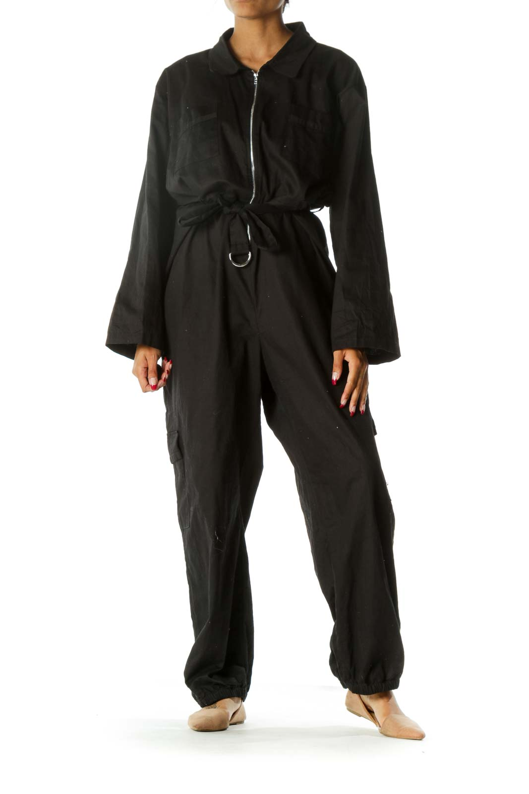 Black Zippered Pocketed Belted Elastic Ankles Jumpsuit