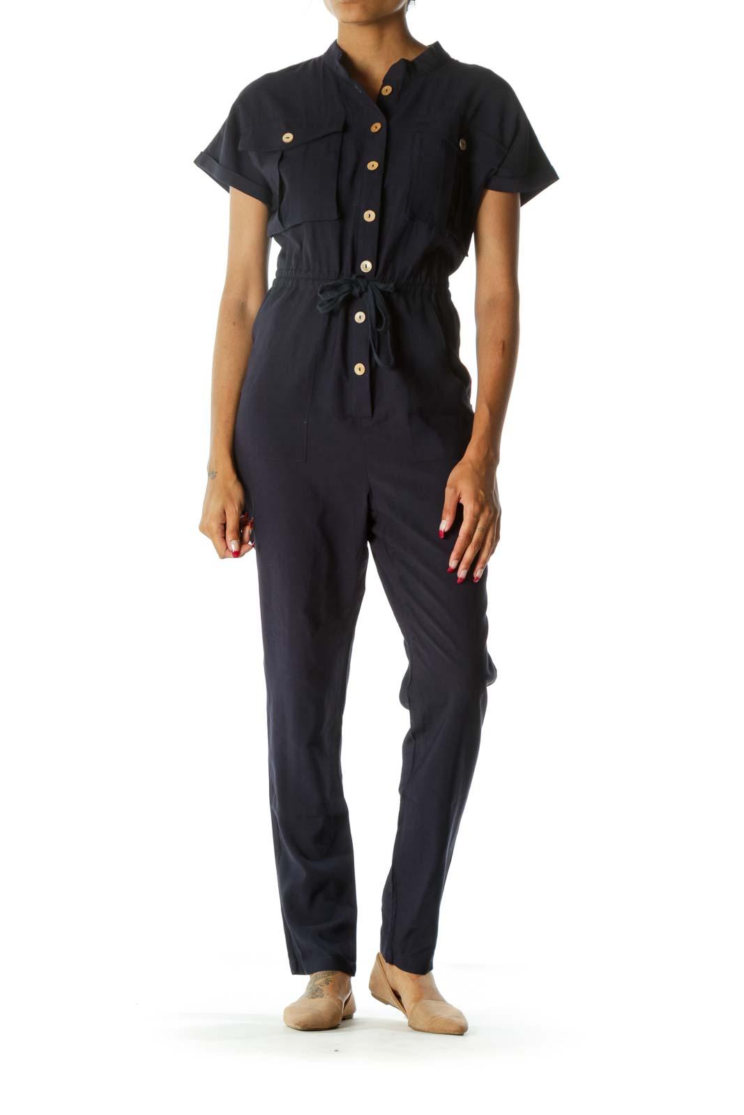 Navy Blue Breast-Pockets Short Sleeves Drawstring Jumpsuit
