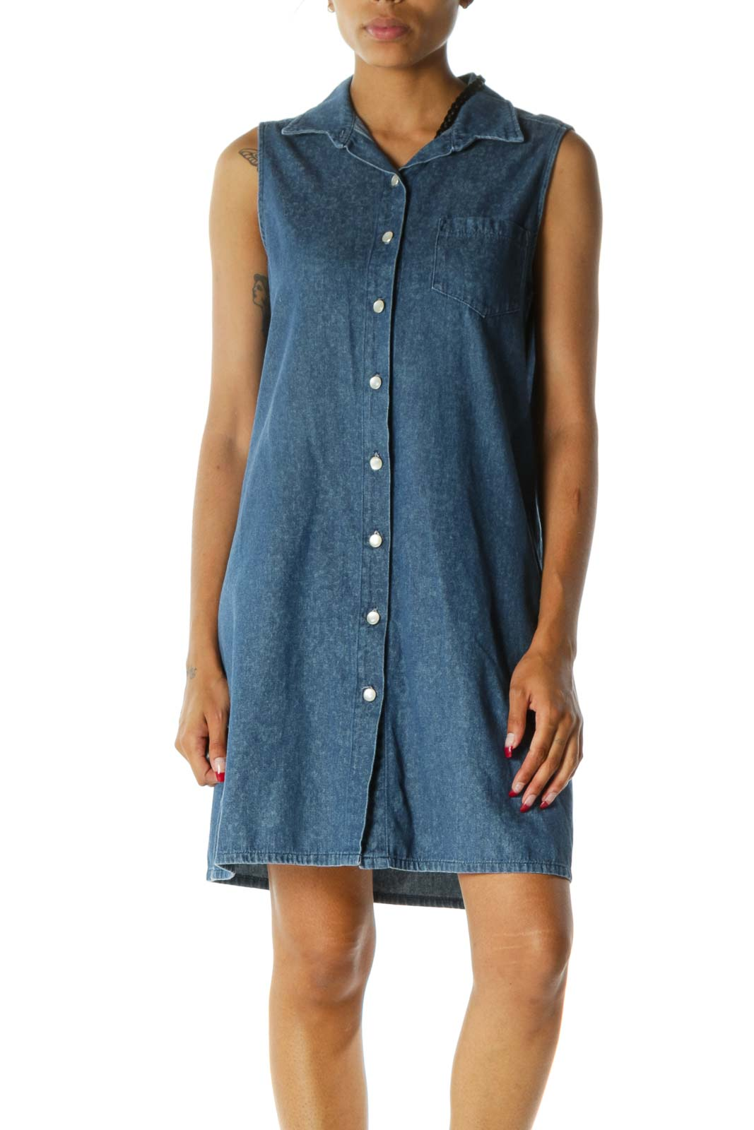 Blue Collared Buttoned One-Pocket Sleeveless Denim Dress