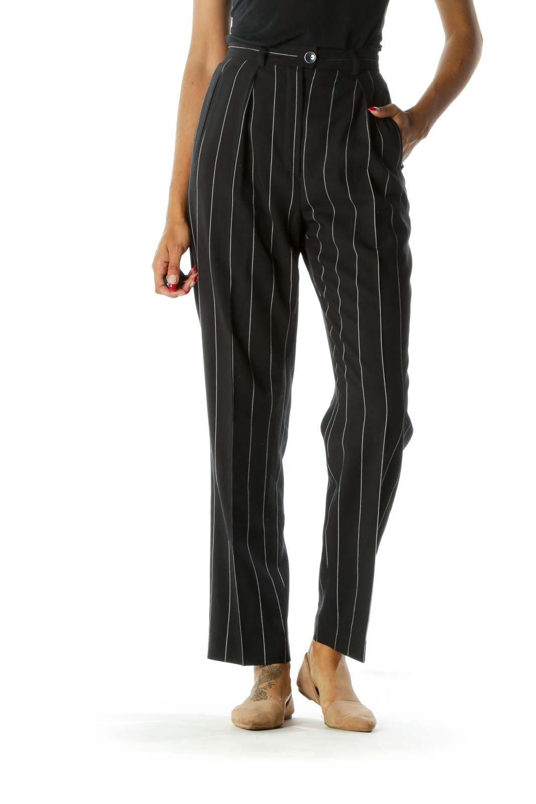 Navy & White Pinstripe 100% Pure Wool Designer High-Waisted Pants