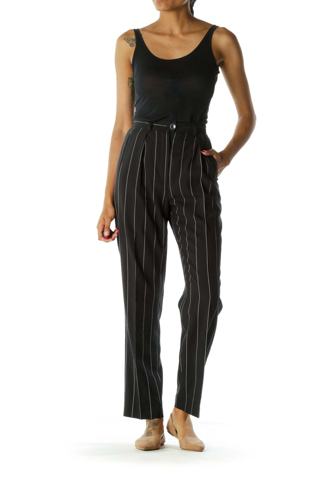 Navy & White Pinstripe 100% Pure Wool Designer High-Waisted Pants