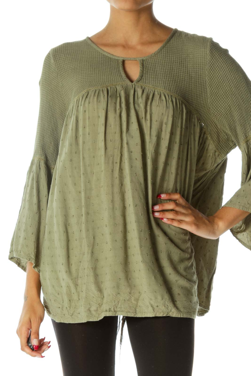 Green Keyhole Waffle-Knit Textured Flared Top