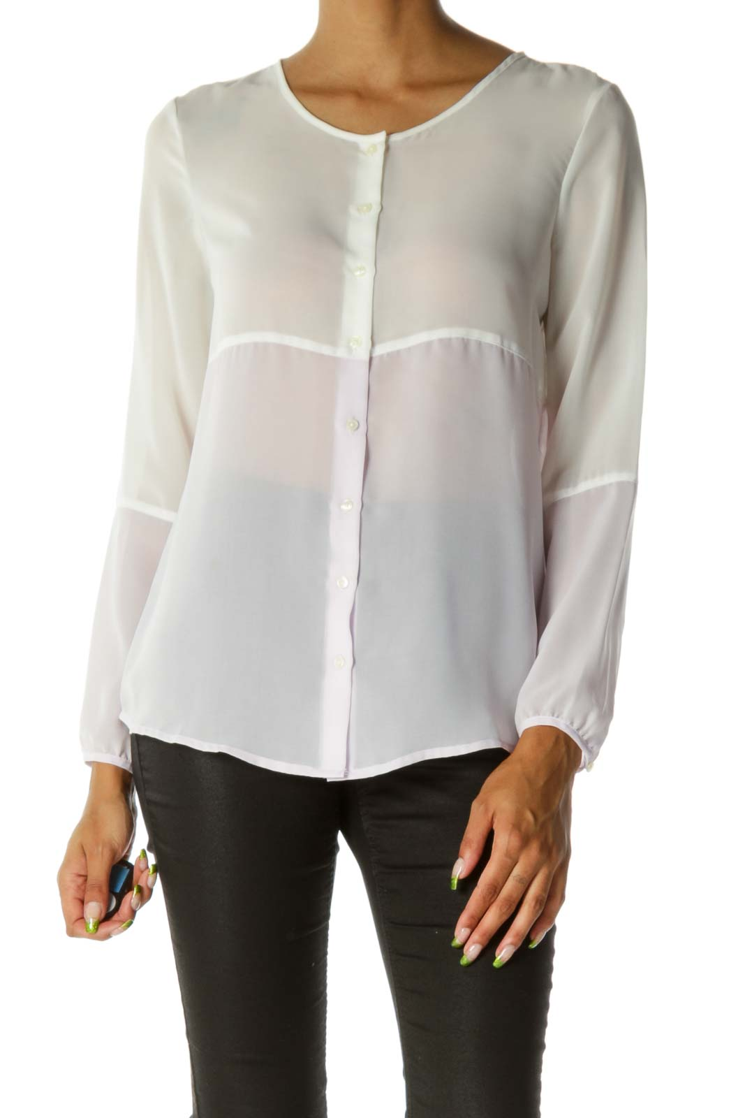 Cream Lilac Purple Round Neck See-Through Buttoned Shirt