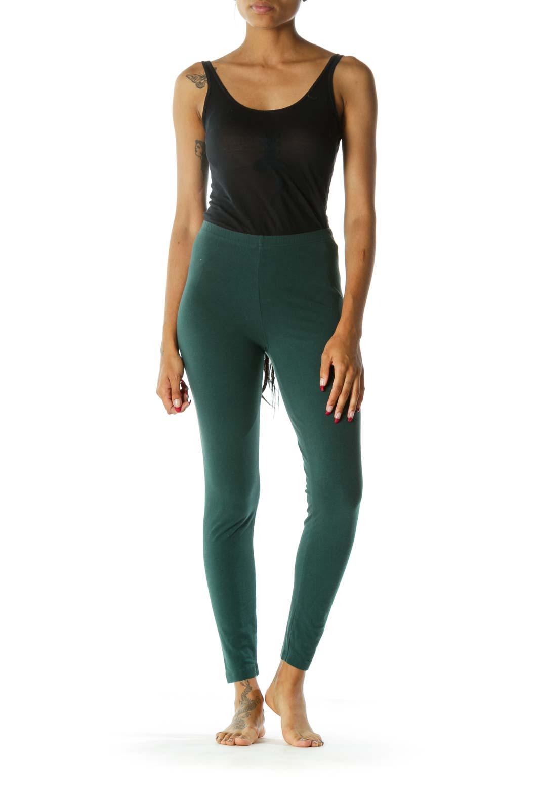 Green High-Waisted Skinny Leggings