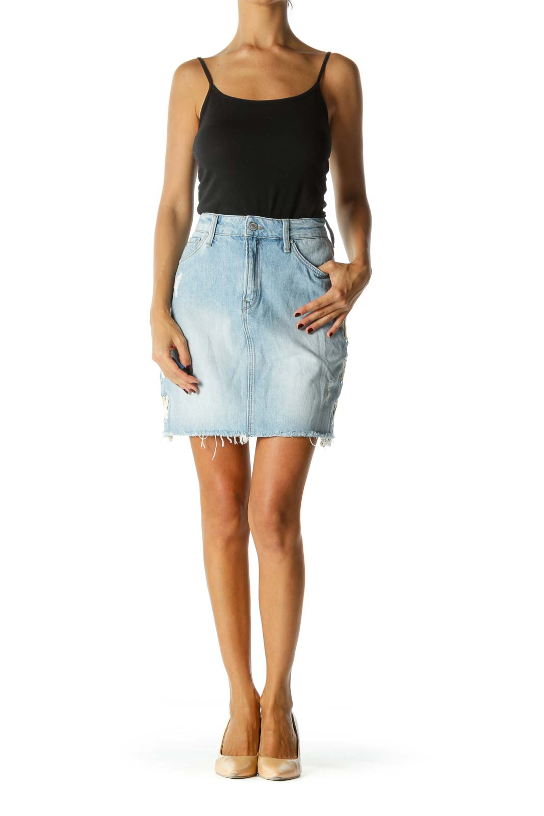 Light Blue Denim Skirt w/ White Ribbon Criss-Cross & Hardware Detail