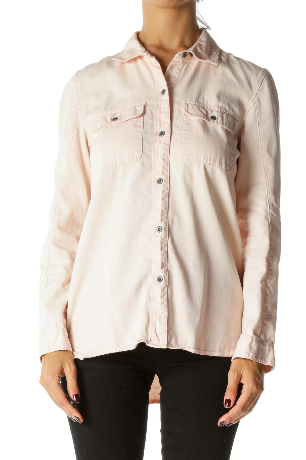 Light Peach 100% Cotton Pocketed Long Sleeve Fresh Shirt