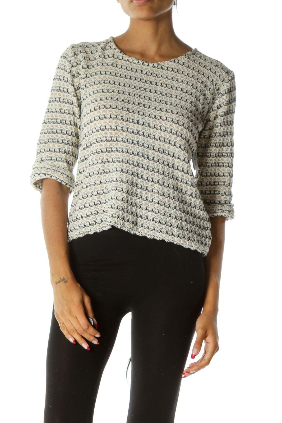 Black White Beige Knit Pattern 3/4 Sleeve Stretch Top